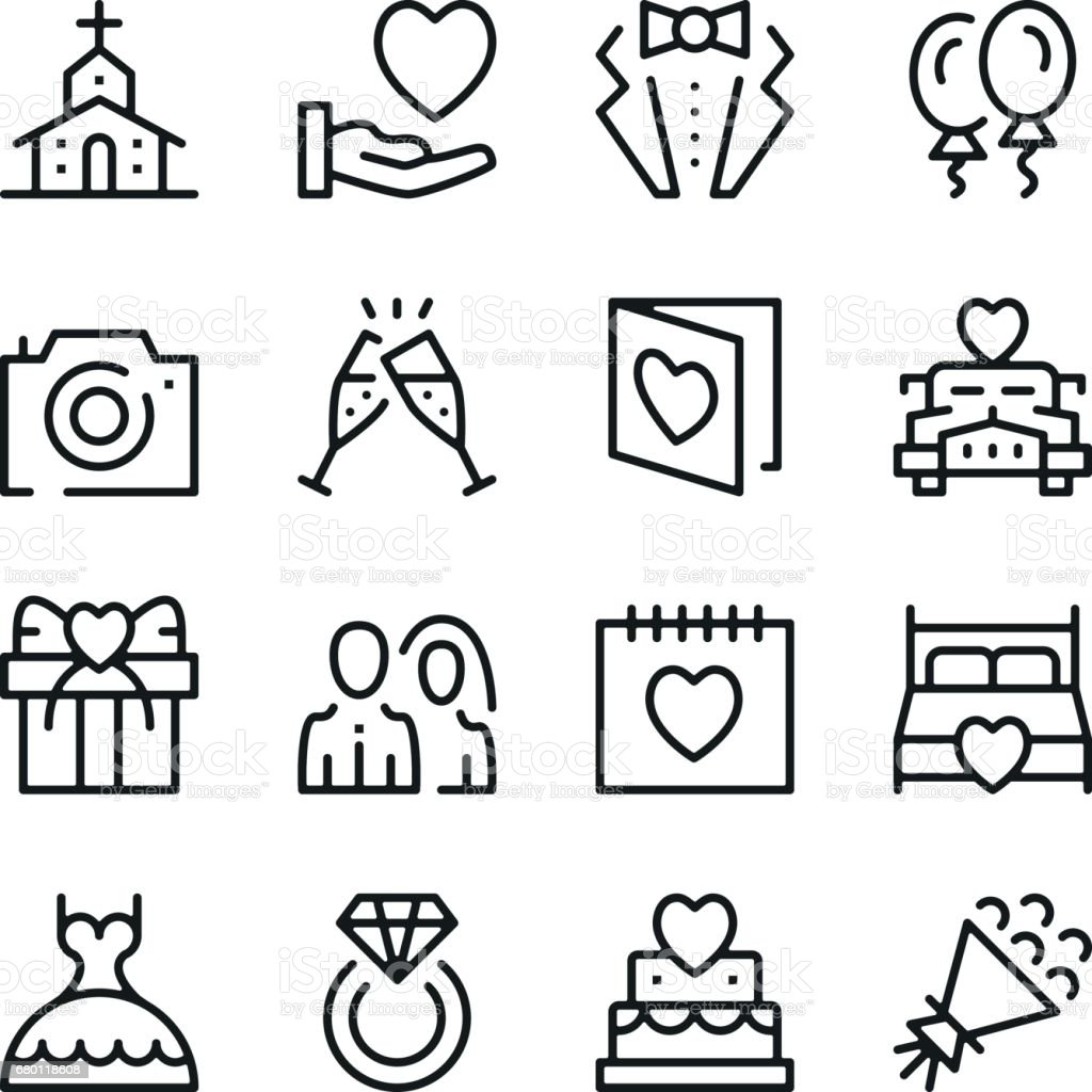 Wedding line icons set. Modern graphic design concepts, simple outline elements collection. Vector line icons vector art illustration