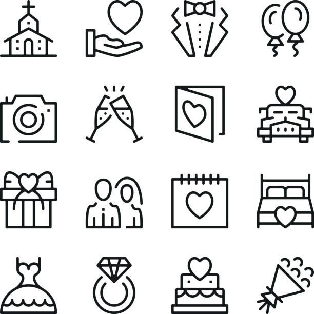 wedding line icons set. modern graphic design concepts, simple outline elements collection. vector line icons - date night stock illustrations