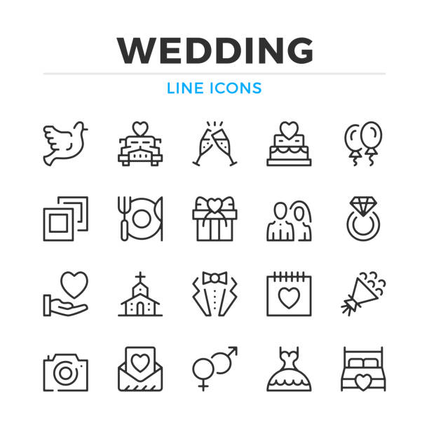 Wedding line icons set. Modern outline elements, graphic design concepts. Stroke, linear style. Simple symbols collection. Vector line icons Wedding line icons set. Modern outline elements, graphic design concepts. Stroke, linear style. Simple symbols collection. Vector line icons wedding cake stock illustrations