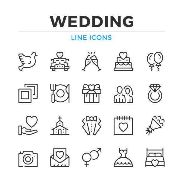 結婚式の線のアイコンを設定します。モダンなアウトラインの要素、グラフィック デザインの概念。ストローク、線形スタイル。単純なシンボルのコレクションです。ベクター線のアイコン - 結婚式点のイラスト素材/クリップアート素材/マンガ素材/アイコン素材