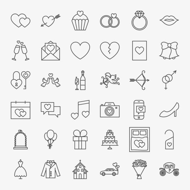 wedding line icons set - save the date calendar stock illustrations, clip art, cartoons, & icons