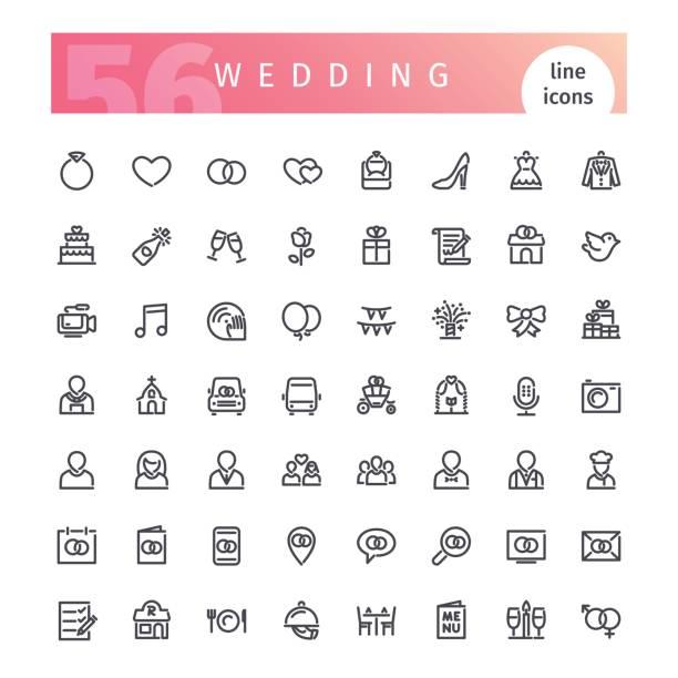hochzeit linie icons set - kirchenring stock-grafiken, -clipart, -cartoons und -symbole