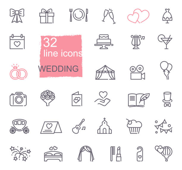 illustrazioni stock, clip art, cartoni animati e icone di tendenza di wedding line icons set - matrimonio