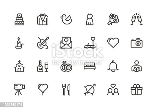 Wedding - Line Icons - Vector EPS 10 File, Pixel Perfect 24 Icons.