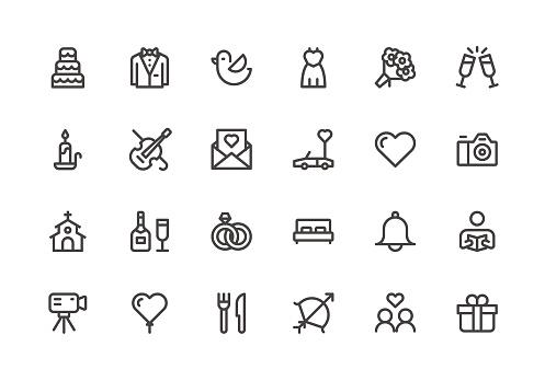 Wedding - Line Icons