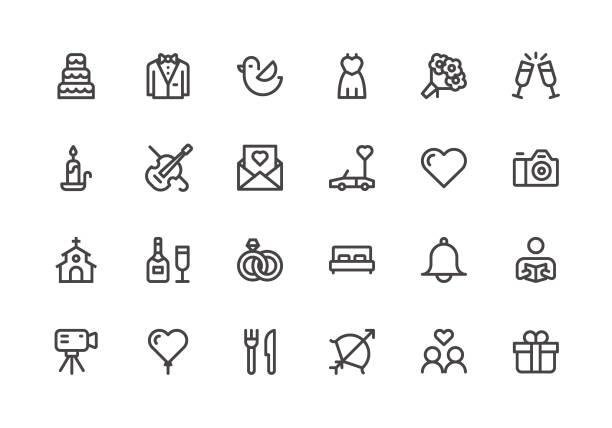 wedding - line icons - wedding stock illustrations, clip art, cartoons, & icons