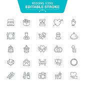 Heart Shape, Wedding Cake, Alcohol, Cake, Food, Bride, Editable Stroke Icon Set