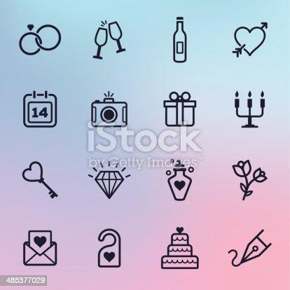 istock Wedding Line Icons 485377029