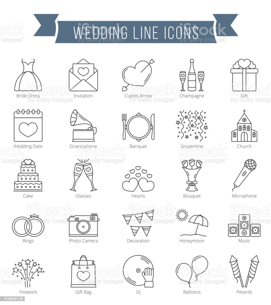 Wedding Line Icons vector art illustration