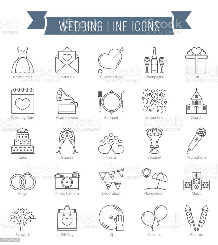 Ligne icônes de mariage - Illustration vectorielle