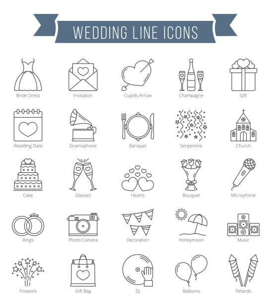 Wedding Line Icons vector art illustration