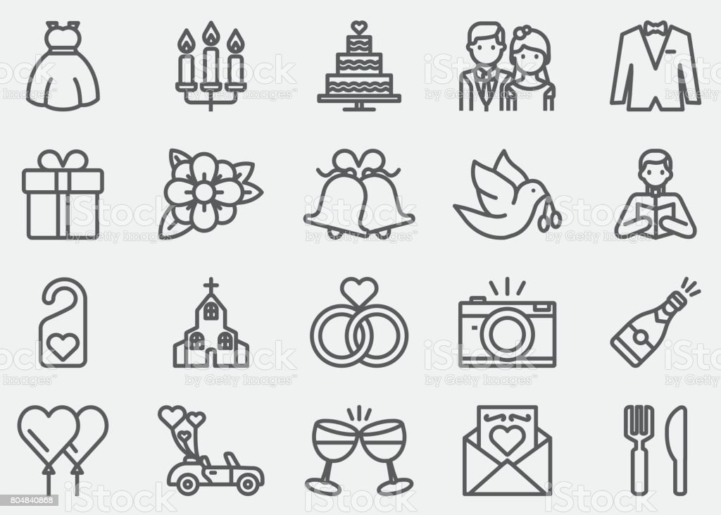 Wedding Line Icons Stock Vector Art More Images Of Alcohol