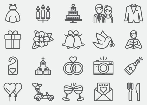 wedding line icons - marriage stock illustrations