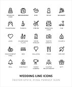 Wedding Line Icons Vector EPS 10 File, Pixel Perfect Icons.