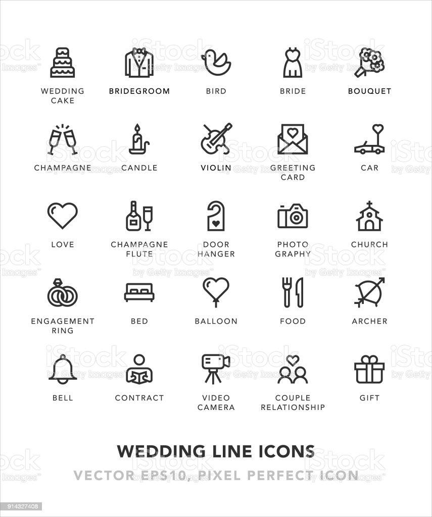 Ícones da linha de casamento - ilustração de arte em vetor