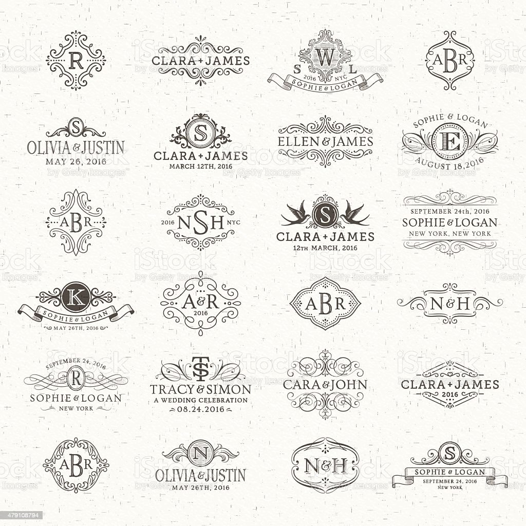 Wedding Logos and Monograms vector art illustration