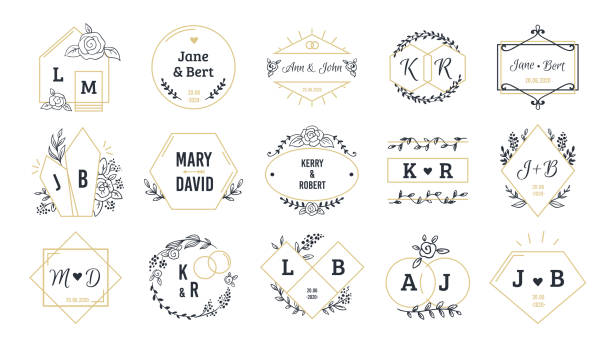 Wedding logos. Bohemian monograms for event invitation and wedding greeting cards with hand drawn elements. Vector set Wedding logos. Bohemian monograms for event invitation and wedding greeting cards with hand drawn elements. Vector set minimalist image name couple people fragility stock illustrations