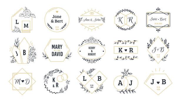 hochzeit logos. böhmische monogramme für event-einladung und hochzeit grußkarten mit handgezeichneten elementen. vektorsatz - monogrammarten stock-grafiken, -clipart, -cartoons und -symbole