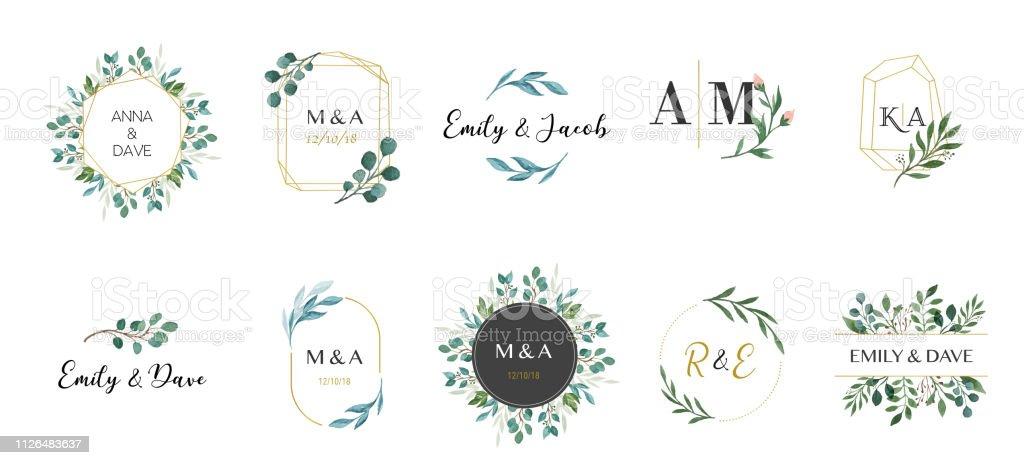 Logotipos de casamento, entrega a coleção desenhada monograma elegante e delicada vetores de logotipos de casamento entrega a coleção desenhada monograma elegante e delicada e mais imagens de aliança de casamento royalty-free