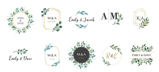 Wedding logos, hand drawn elegant, delicate monogram collection clipart