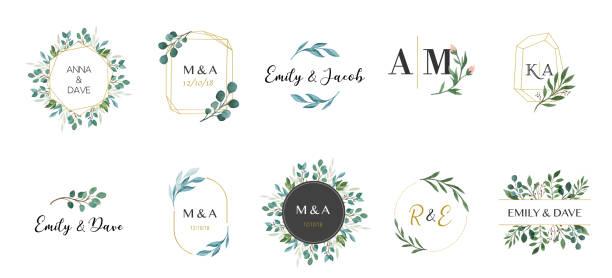 Wedding logos, hand drawn elegant, delicate monogram collection Wedding logos, hand drawn elegant, delicate monogram collection flowers stock illustrations