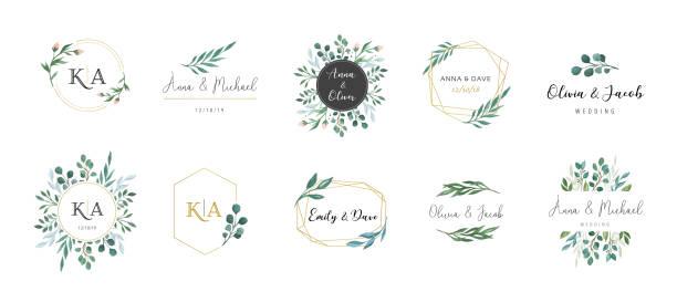 結婚式ロゴ、手描きのエレガントで繊細なモノグラム コレクション - 花点のイラスト素材/クリップアート素材/マンガ素材/アイコン素材