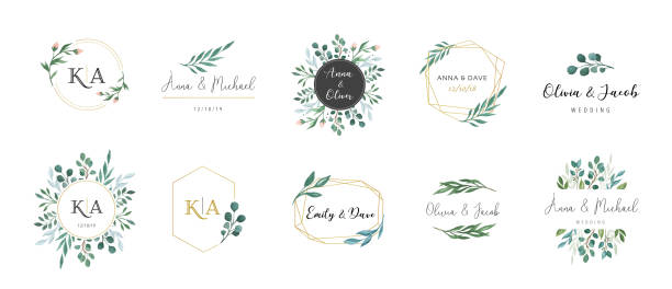 wedding logos, hand drawn elegant, delicate monogram collection - marriage stock illustrations