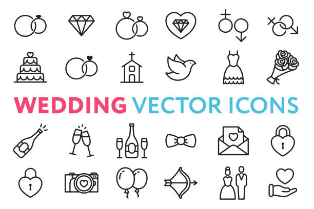 wedding, marriage, engagement, bridal flat line vector icon set. valentine day. love, heart, bride, groom, wife, husband. rings, cake, chapel, dove, dress, bouquet, champagne, invitation. - marriage stock illustrations