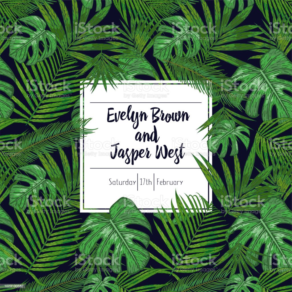 Wedding Marriage Event Invitation Card Template Tropical