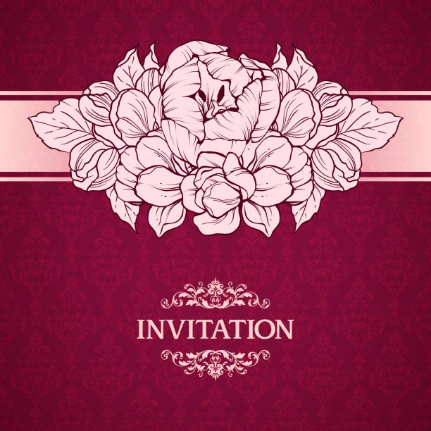 Wedding marriage invitation with linear flowers on ornate background. Greeting card in retro style Elegant pattern, flowers Wedding marriage invitation with linear flowers on ornate background. Greeting card in retro style Elegant pattern, flowers, decor frame Vector floral illustration vintage style Valentine anniversary mistery stock illustrations