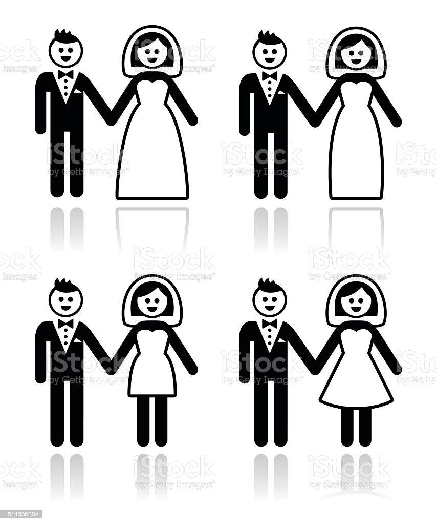 Hochzeit Verheiratet Paar Braut Und Bräutigam Symbole Satz Stock ...