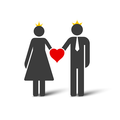 Wedding married couple simple icon. Flat vector illustration isolated on white