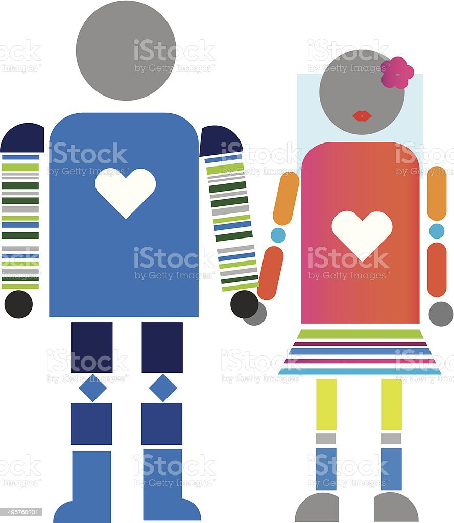 wedding mechanical robots isolated on white royalty-free stock vector art