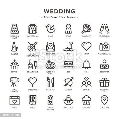 Wedding - Medium Line Icons - Vector EPS 10 File, Pixel Perfect 30 Icons.
