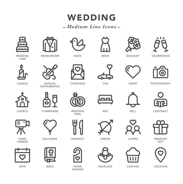 hochzeit - medium line icons - kirchenschmuck stock-grafiken, -clipart, -cartoons und -symbole