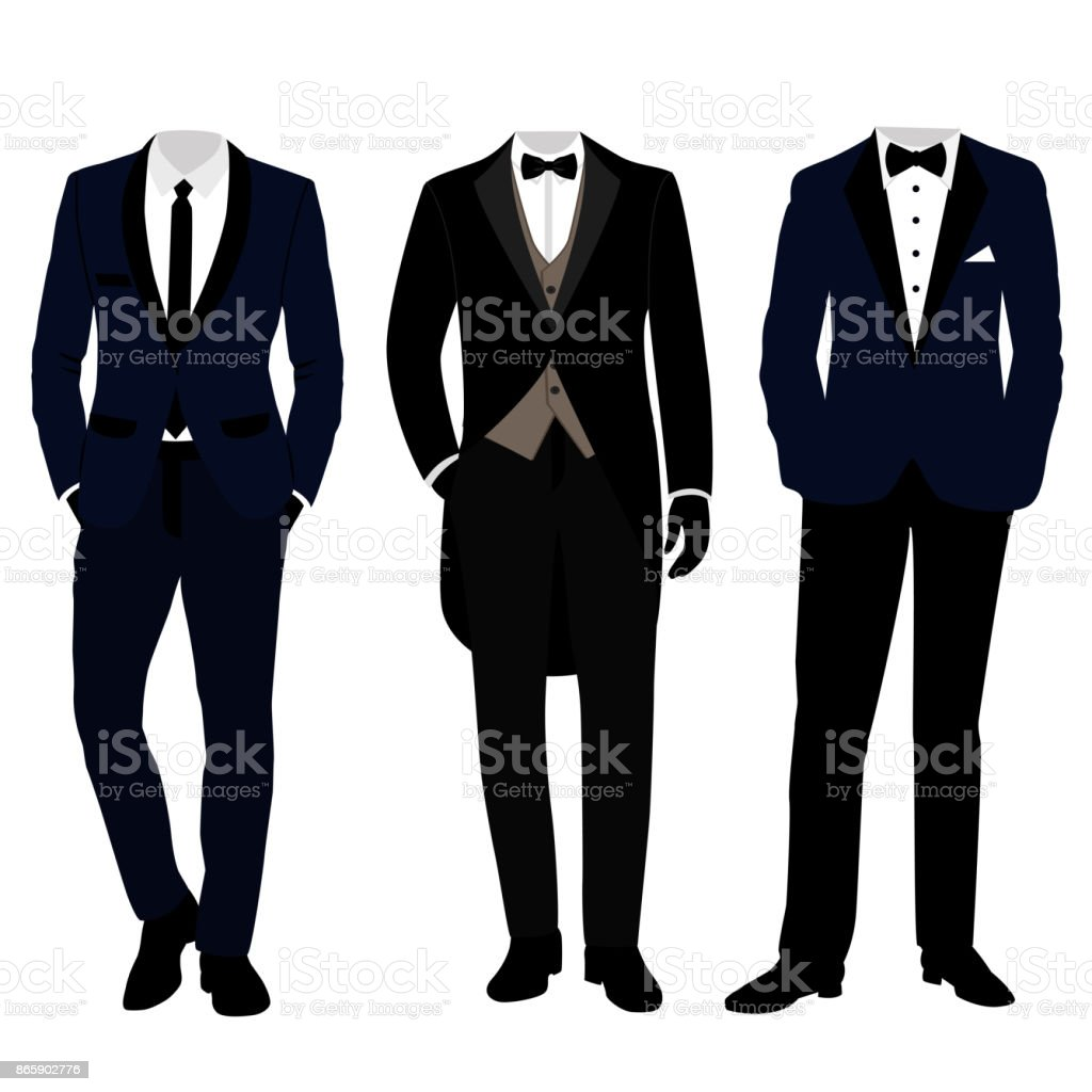 Wedding men's suit and tuxedo. Collection. vector art illustration