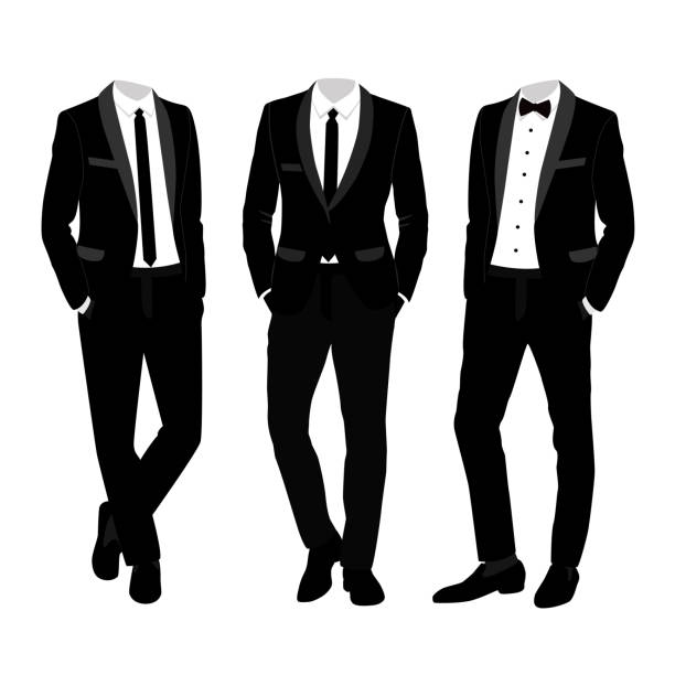 Wedding men's suit and tuxedo. Collection. Wedding men's suit and tuxedo. Collection. The groom. Vector illustration. tuxedo stock illustrations