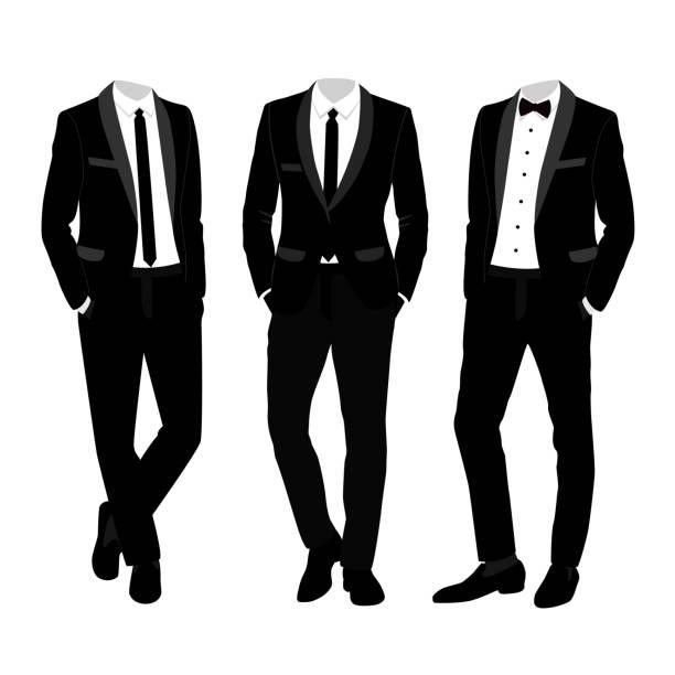 ilustrações de stock, clip art, desenhos animados e ícones de wedding men's suit and tuxedo. collection. - smoking