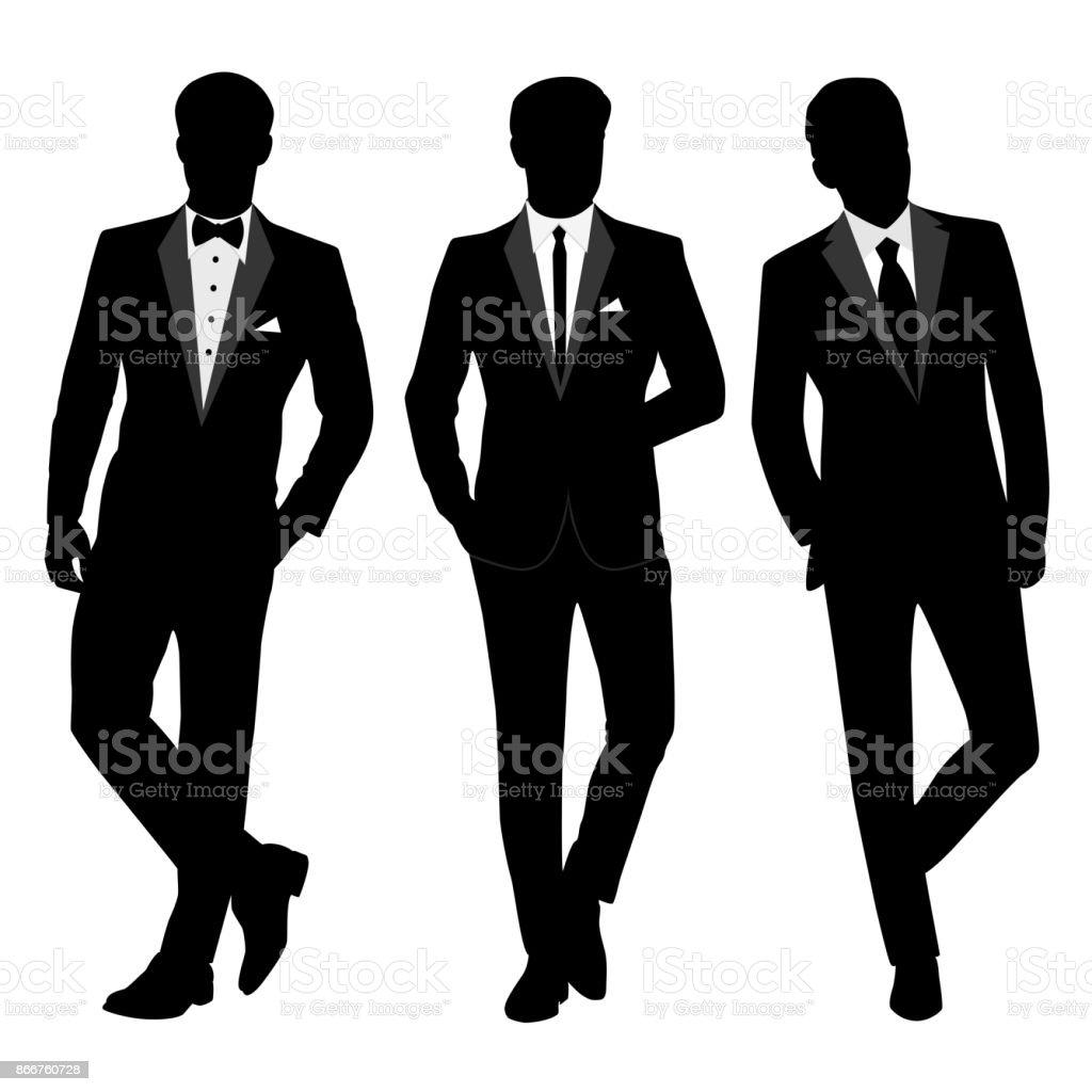 Herren Anzug und Smoking Hochzeit. Kollektion. – Vektorgrafik