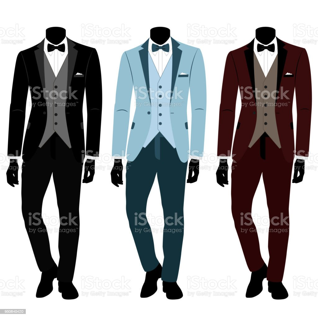 Wedding Mens Suit And Tuxedo Collection Stock Vector Art & More ...