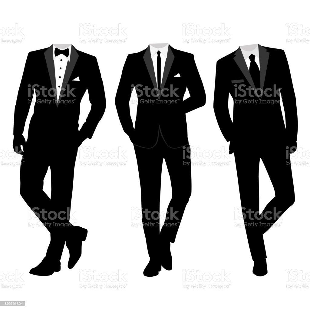 Wedding Mens Suit And Tuxedo Stock Vector Art 866761304