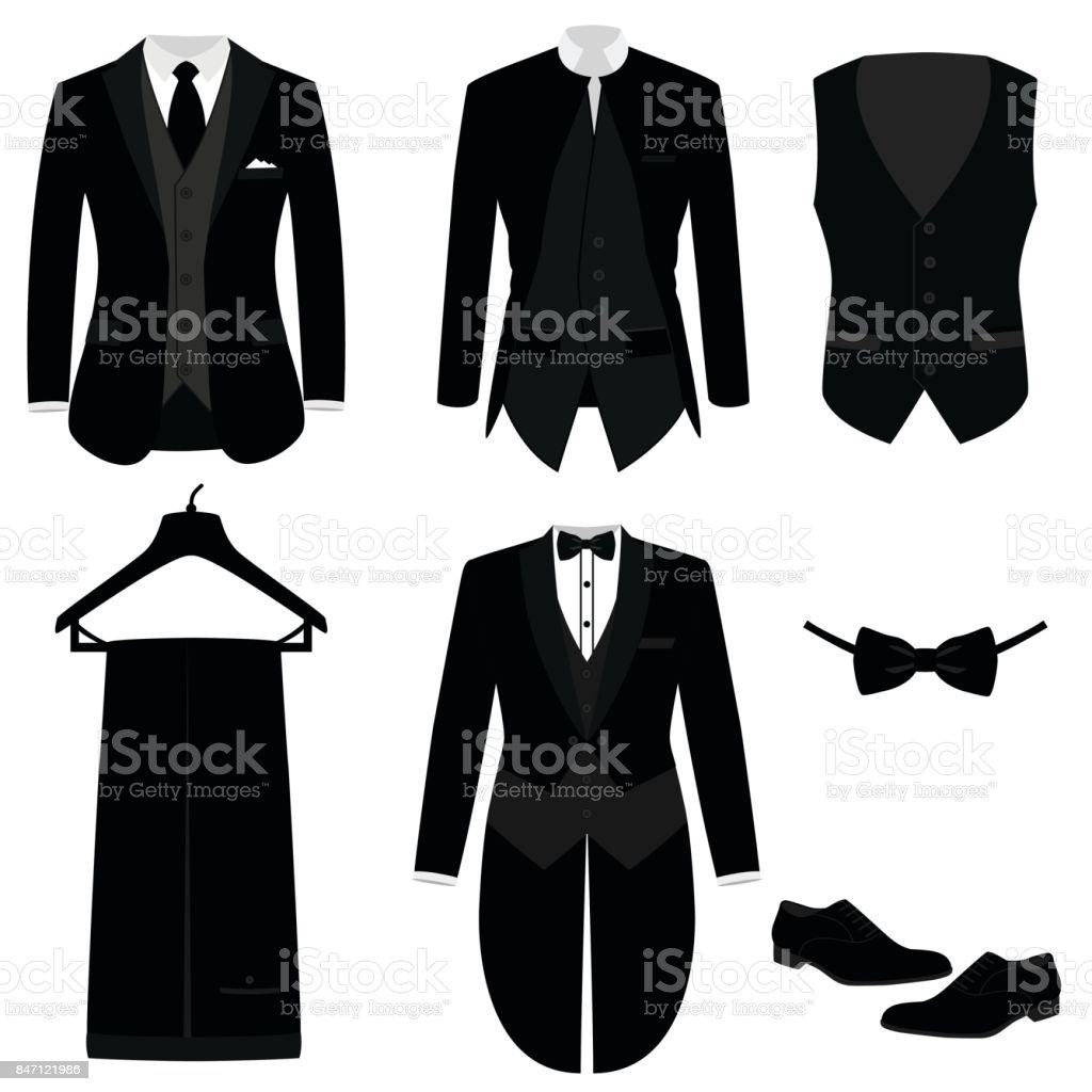 Wedding men's suit with shoes, tuxedo. векторная иллюстрация
