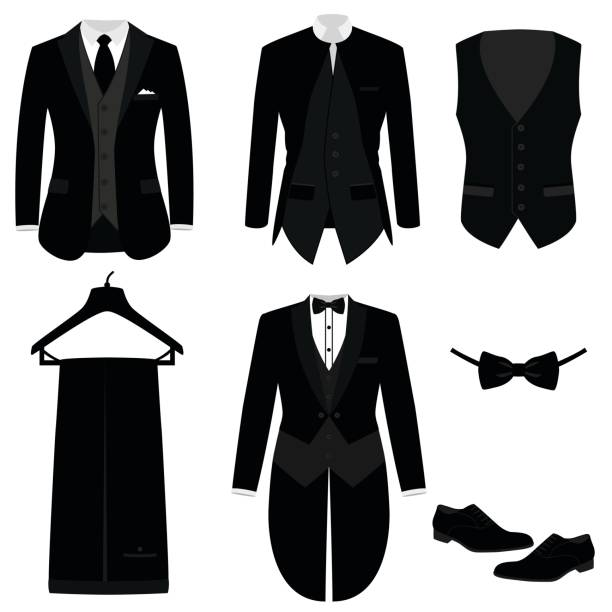 Wedding men's suit with shoes, tuxedo. Wedding men's suit with shoes, tuxedo. Mens jacket. Waistcoat. Collection. Vector illustration tuxedo stock illustrations