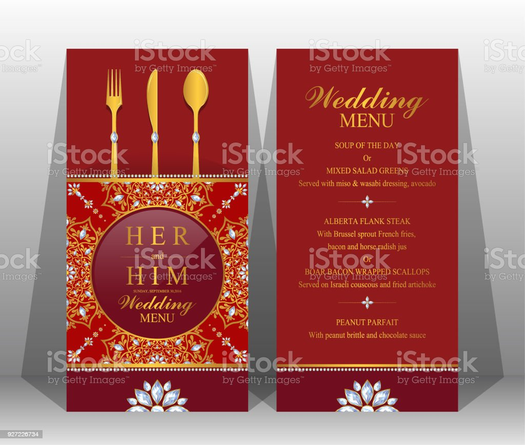 Wedding Menu Card Templates With Gold Patterned And Crystals On ...