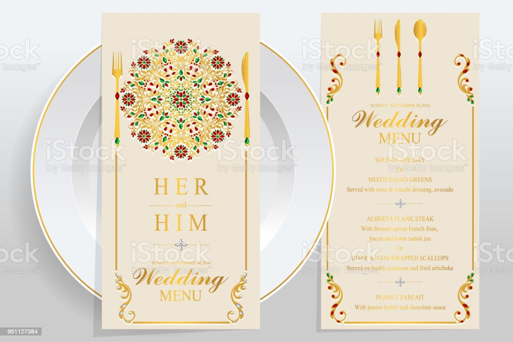 Wedding Menu Card Templates With Gold Patterned And Crystals On Paper Color Royalty Free