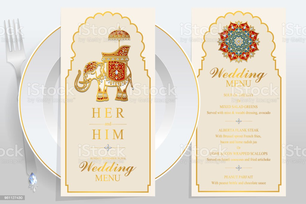 wedding menu card templates with gold patterned and crystals on