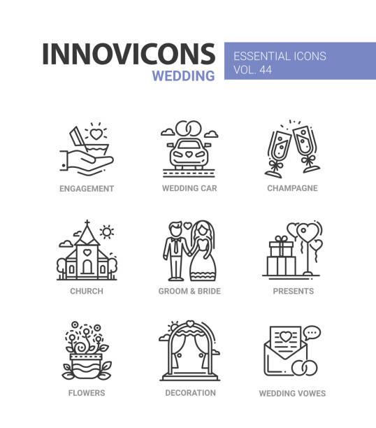 hochzeit - moderne vektor linie design icons set - kirchenschmuck stock-grafiken, -clipart, -cartoons und -symbole