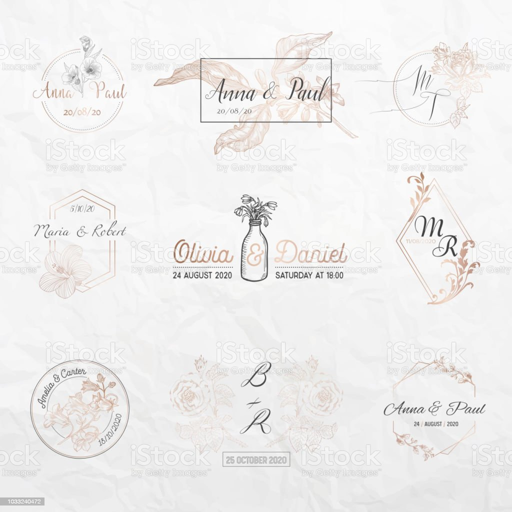 Wedding Monogram Collection Floral Templates For Invitation