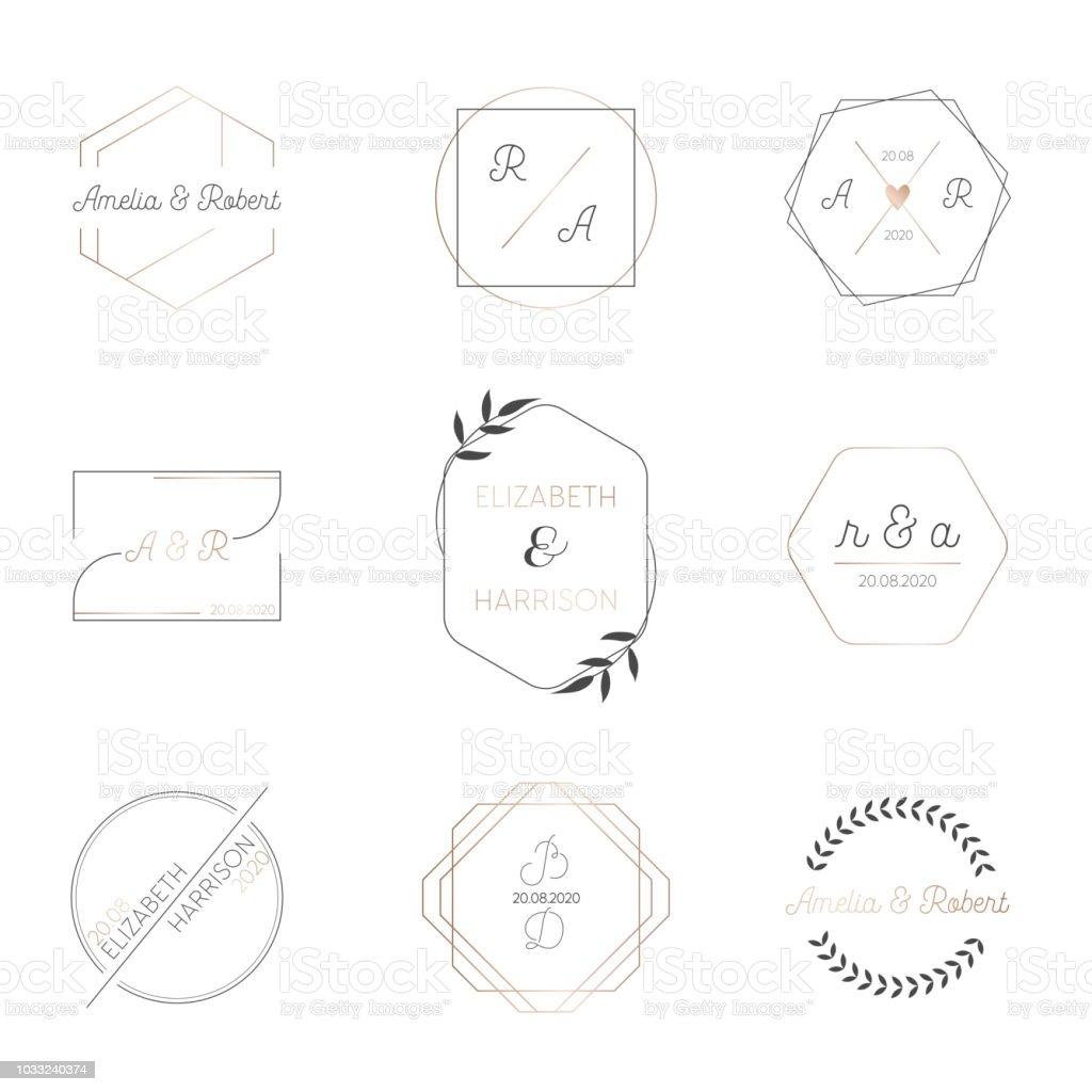 Ilustración De Colección De Boda Monograma Moderno