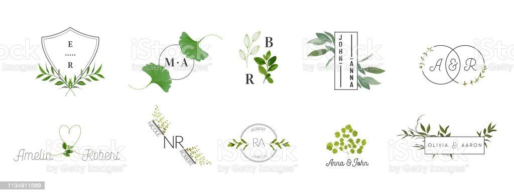 Ilustración De Boda Monograma Logotipos Colección Acuarela